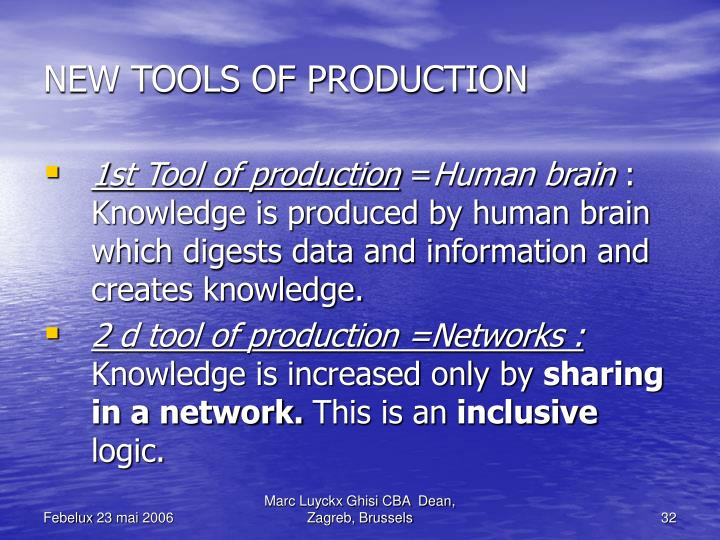 NEW TOOLS OF PRODUCTION