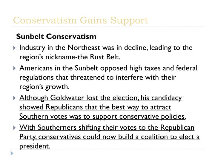 Conservatism Gains Support