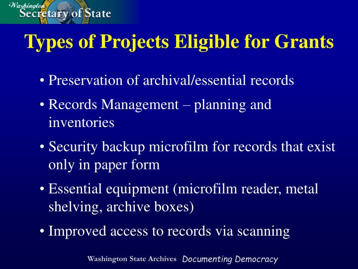 Types of Projects Eligible for Grants