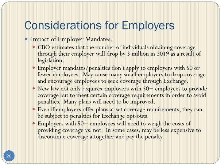 Considerations for Employers