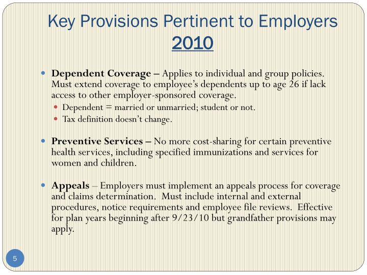 Key Provisions Pertinent to Employers