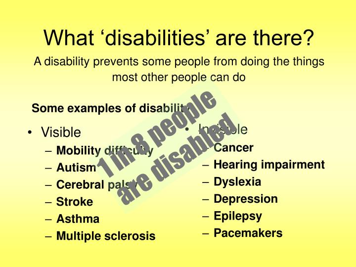 What disabilities are there