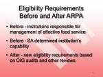 eligibility requirements before and after arpa
