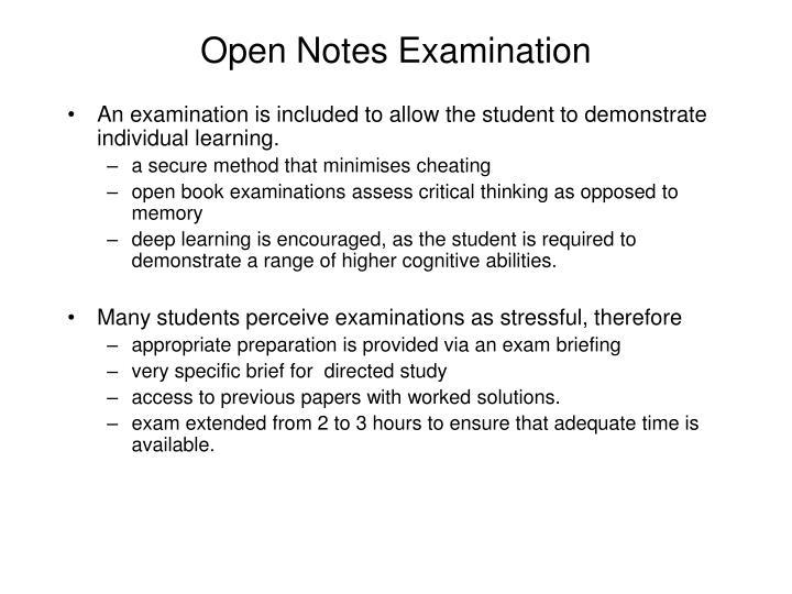 Open Notes Examination