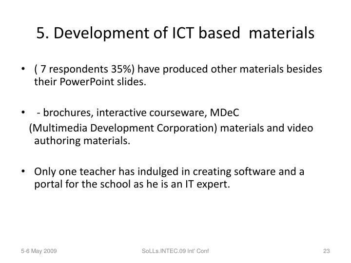 5. Development of ICT based  materials