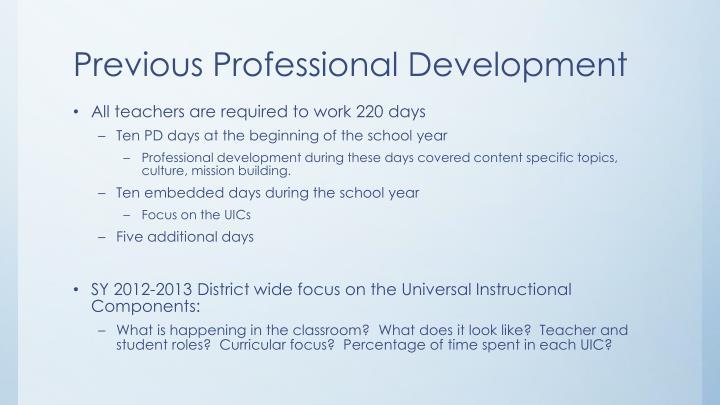 Previous Professional Development