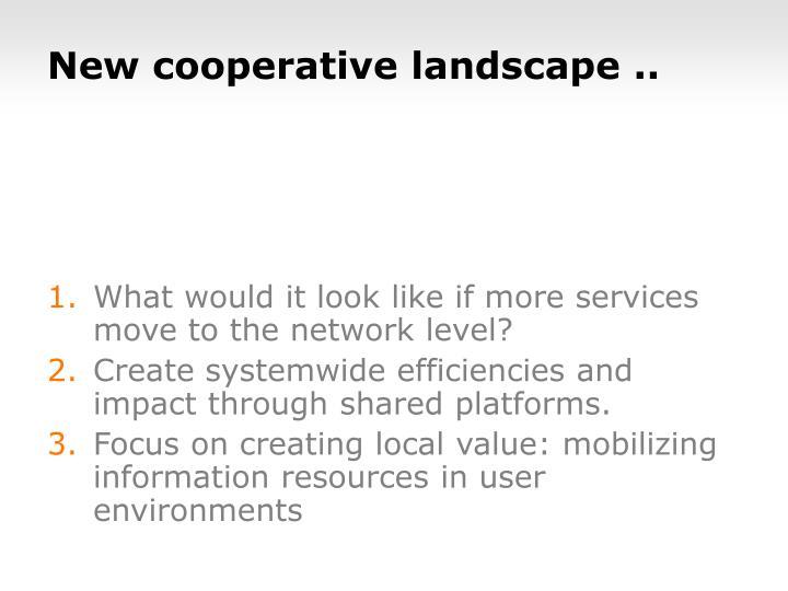 New cooperative landscape ..