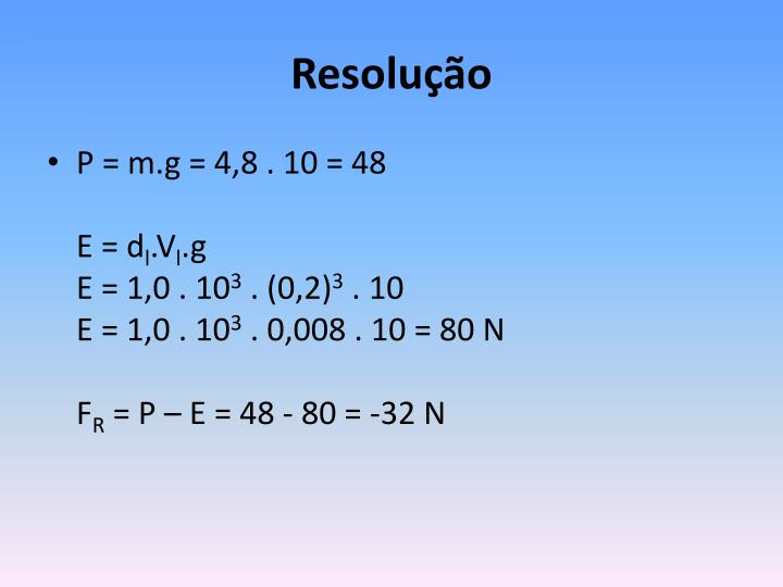 Ppt teorema de arquimedes empuxo powerpoint presentation id resoluo ccuart Image collections