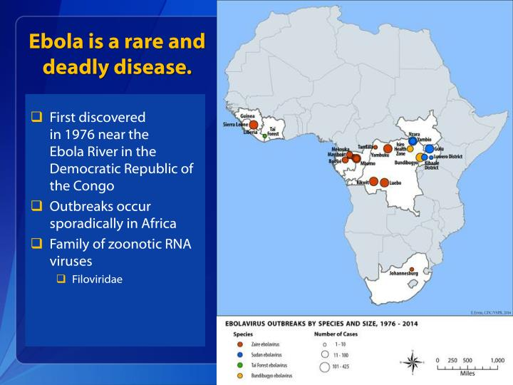 Ebola is a rare and deadly disease.