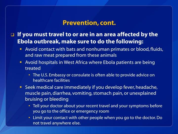 Prevention, cont.
