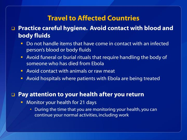 Travel to Affected Countries