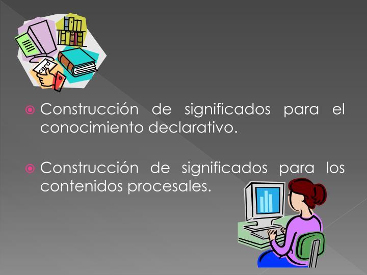 Construcción de significados para el conocimiento declarativo.