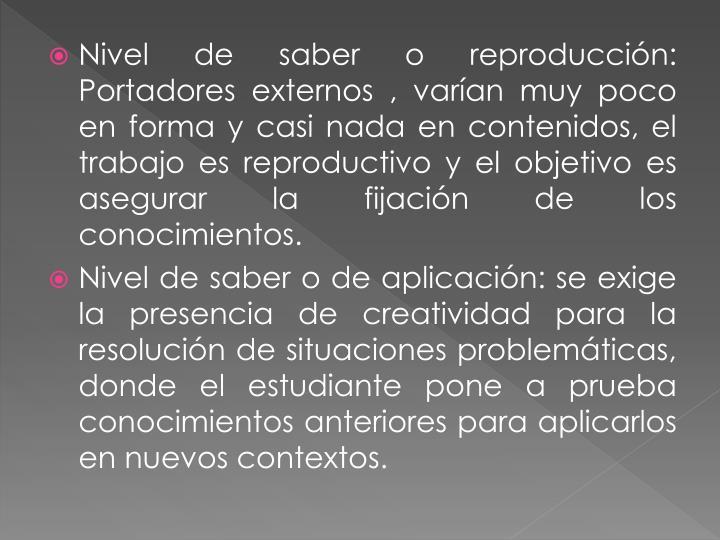 Nivel de saber o reproducción: Portadores externos , varían muy poco en forma y casi nada en contenidos, el trabajo es reproductivo y el objetivo es asegurar la fijación de los conocimientos.
