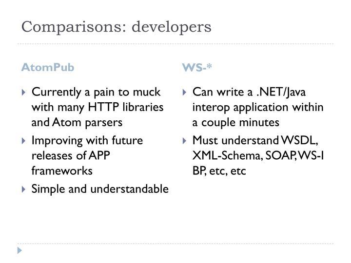 Comparisons: developers