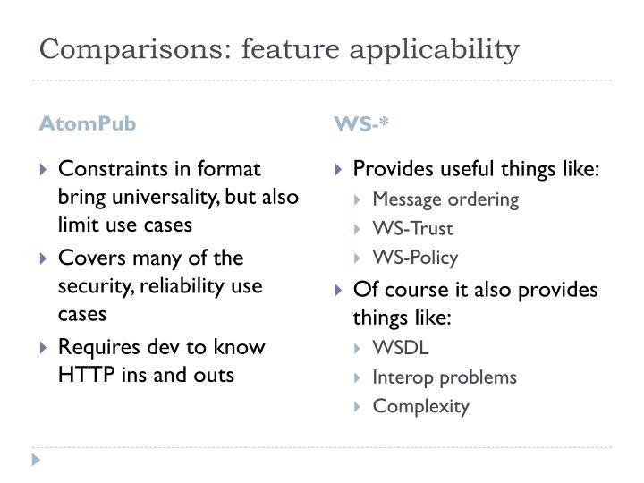 Comparisons: feature applicability