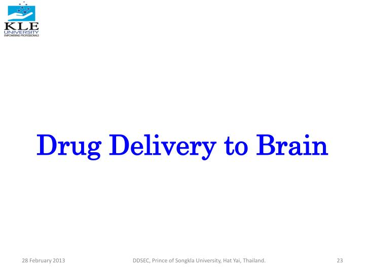 Drug Delivery to Brain