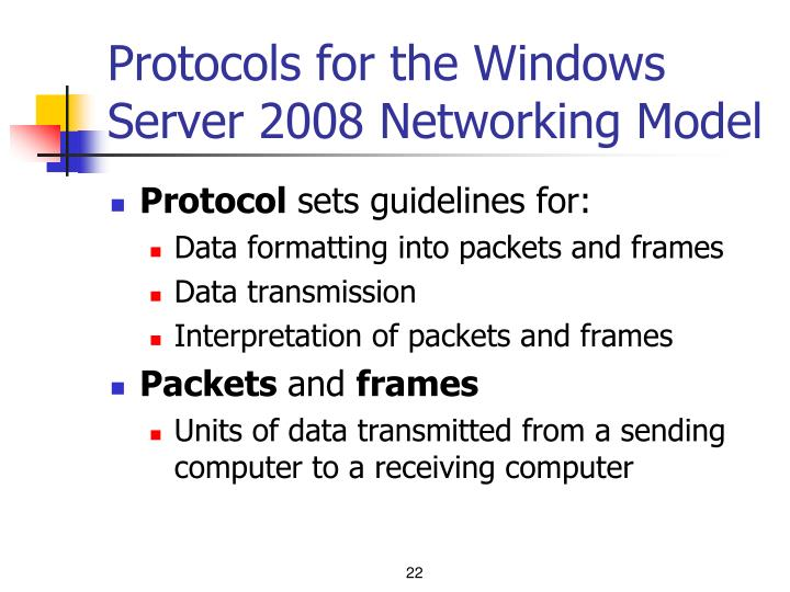 Protocols for the Windows Server 2008 Networking Model