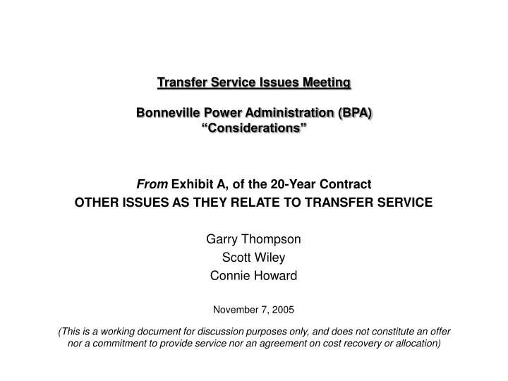 transfer service issues meeting bonneville power administration bpa considerations n.