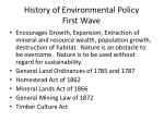 history of environmental policy first wave