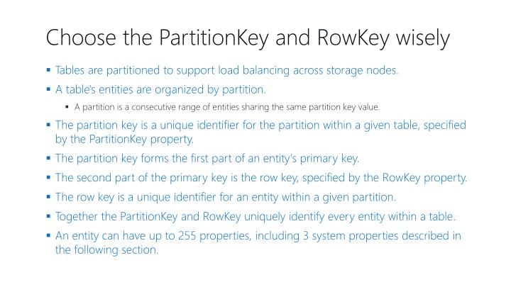 Choose the PartitionKey and RowKey wisely