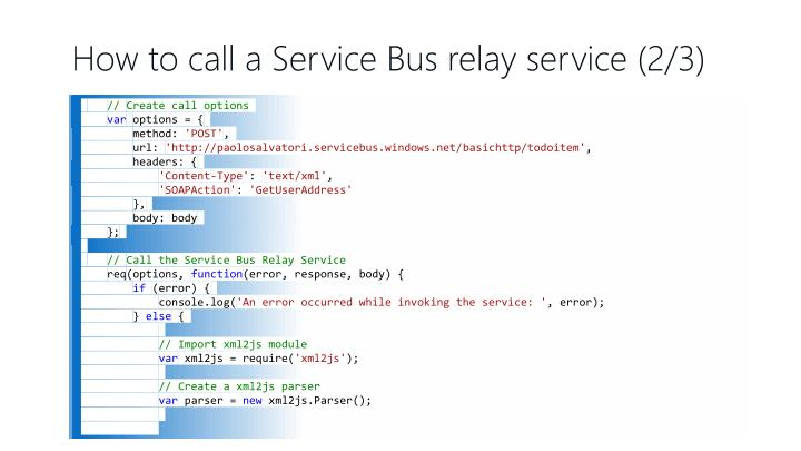 How to call a Service Bus relay service (2/3)