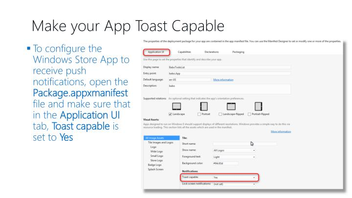 Make your App Toast Capable