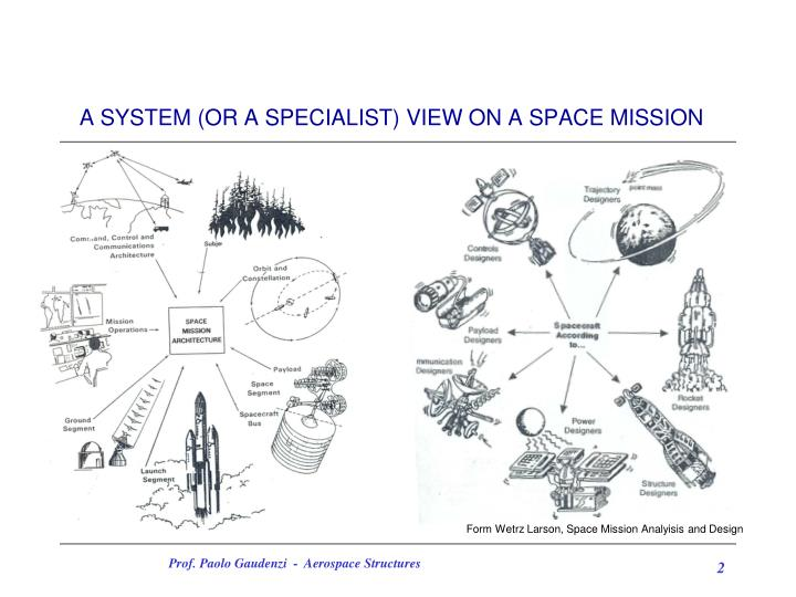 A system or a specialist view on a space mission