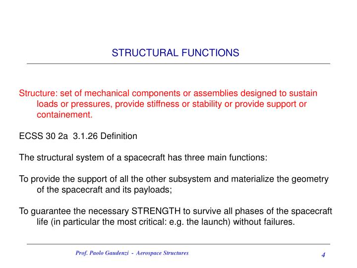STRUCTURAL FUNCTIONS