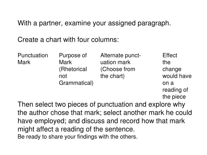 With a partner, examine your assigned paragraph.