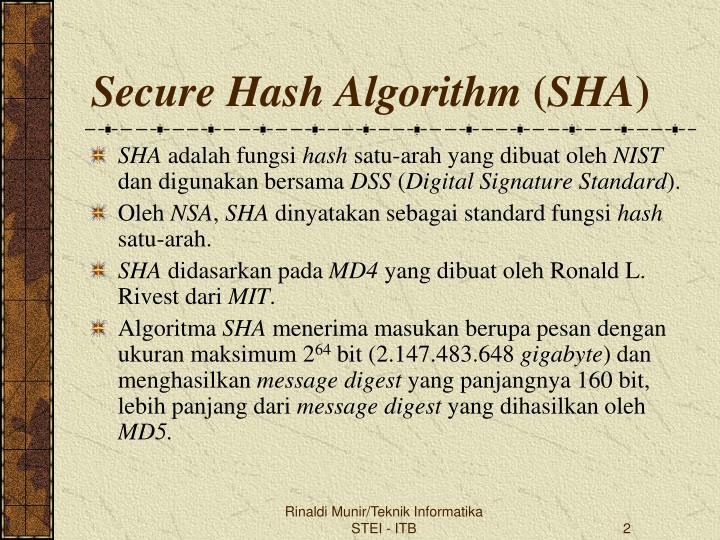 Secure hash algorithm sha1