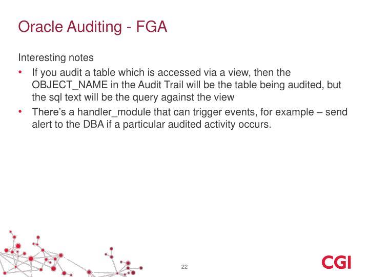 Oracle Auditing - FGA