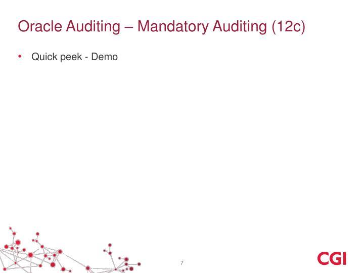 Oracle Auditing – Mandatory