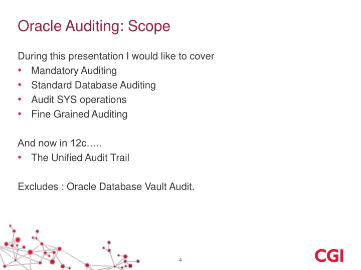 Oracle Auditing: Scope
