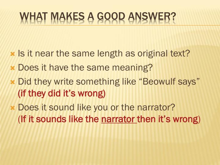 What makes a good answer
