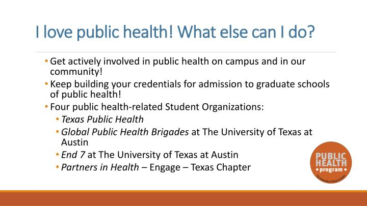 I love public health! What else can I do?