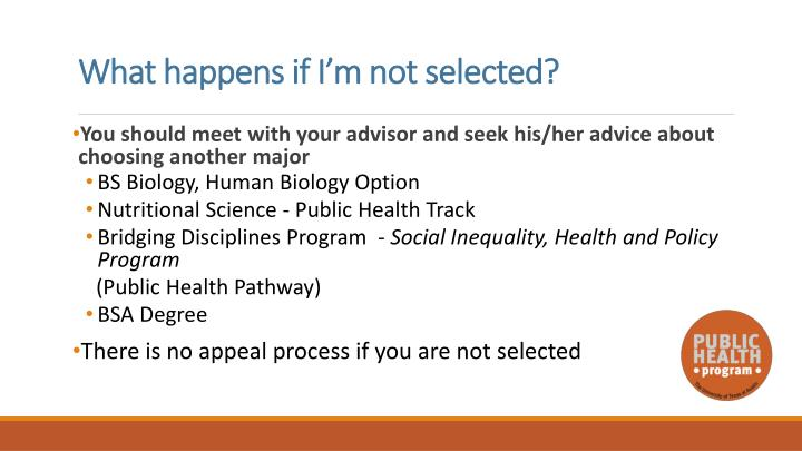 What happens if I'm not selected?