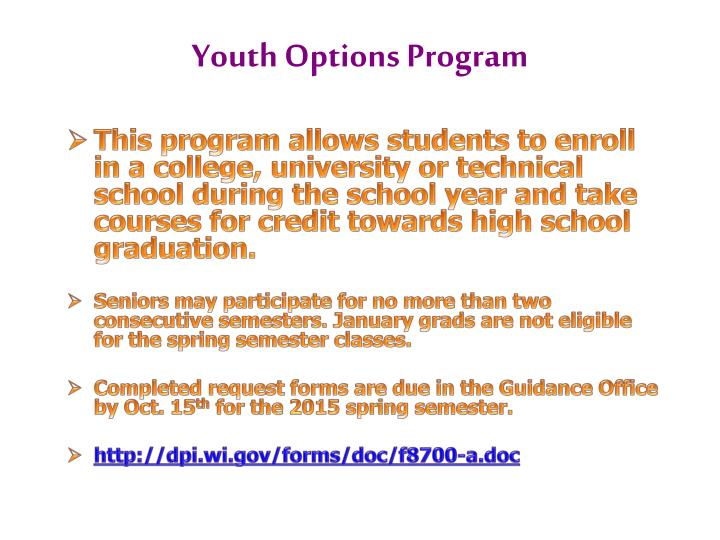 Youth options program