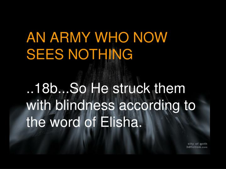 AN ARMY WHO NOW SEES NOTHING
