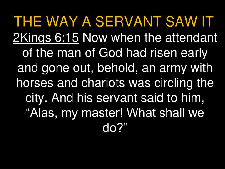 THE WAY A SERVANT SAW IT