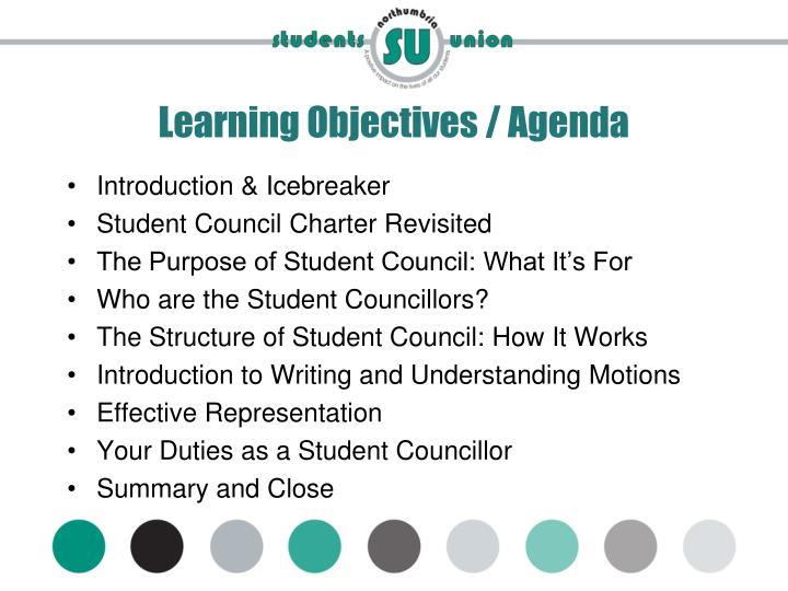 Learning objectives agenda