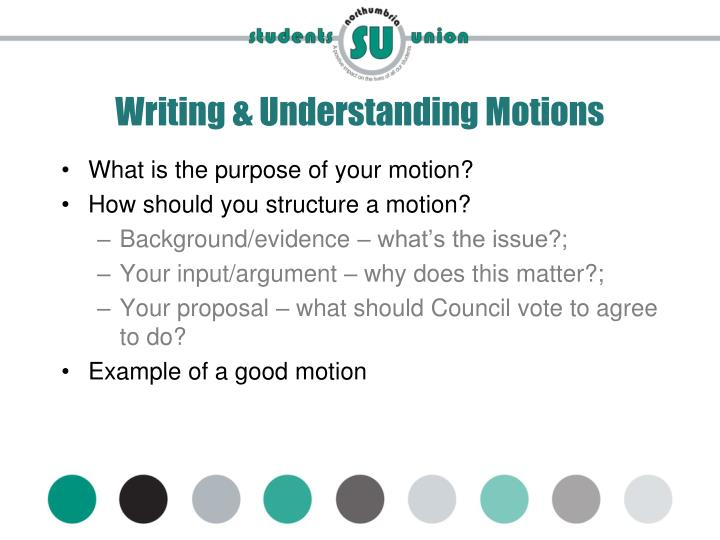 Writing & Understanding Motions