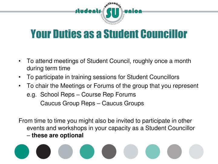 Your Duties as a Student Councillor