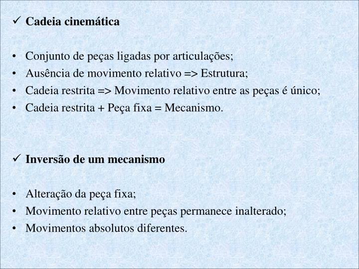 Cadeia cinemática