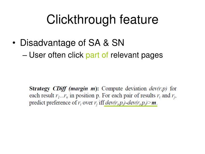 Clickthrough feature