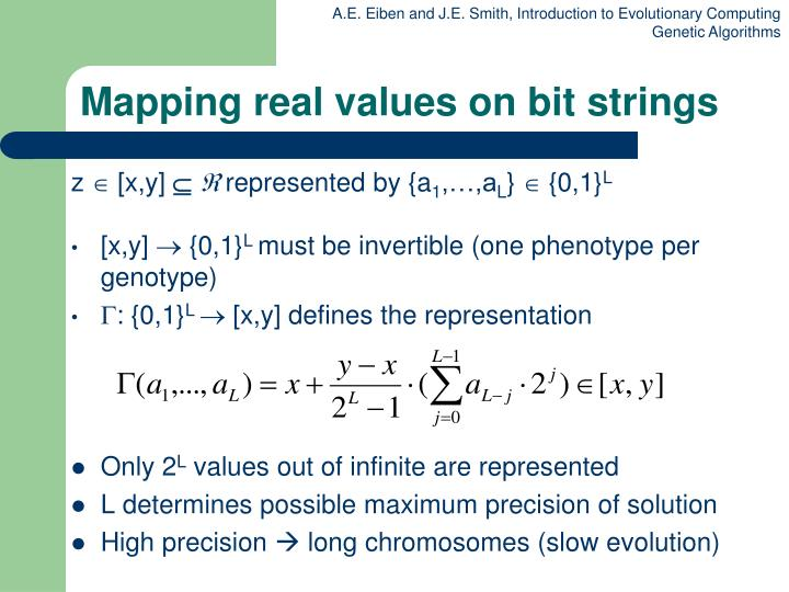 Mapping real values on bit strings