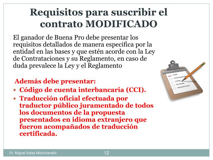 Requisitos para suscribir el contrato MODIFICADO