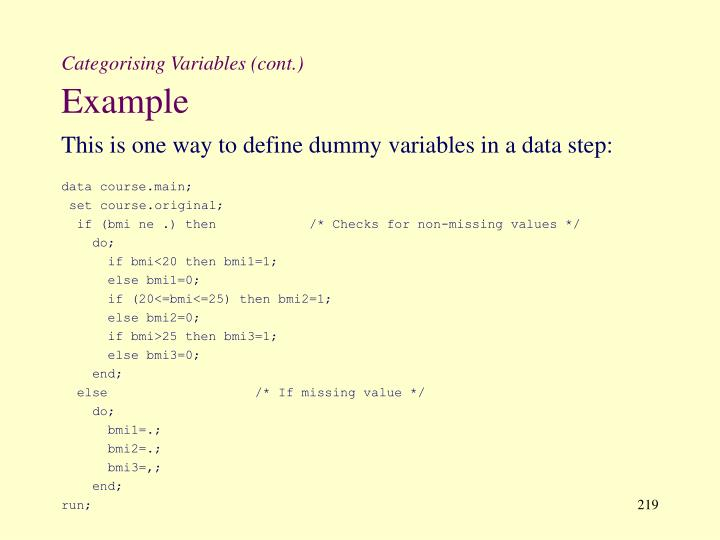 Categorising Variables (cont.)