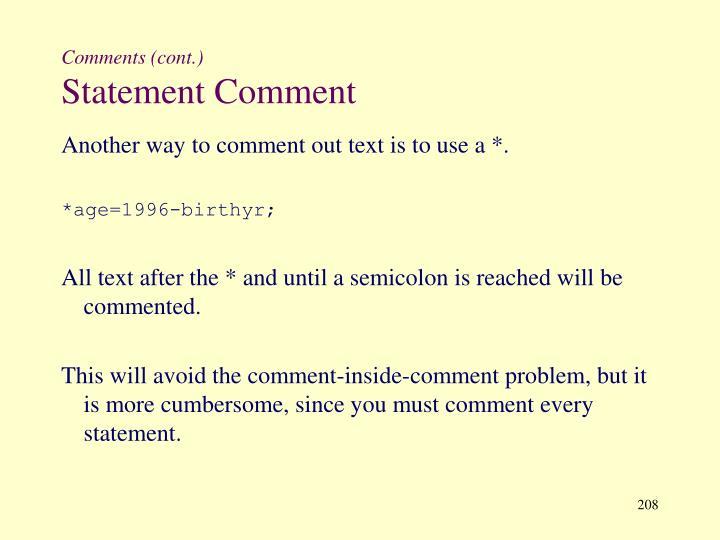 Comments (cont.)