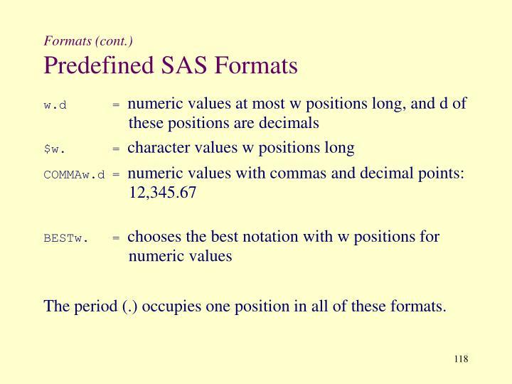 Formats (cont.)