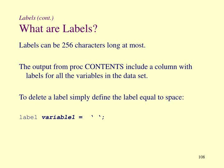 Labels (cont.)